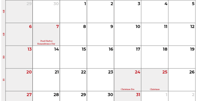 december 2020 calendar_usa