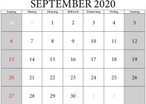 kalenderblatt september 2020
