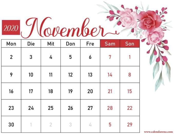 Blumenkalender November 2020-2
