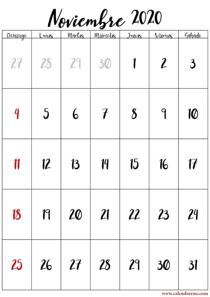calendario de noviembre 2020 retrato