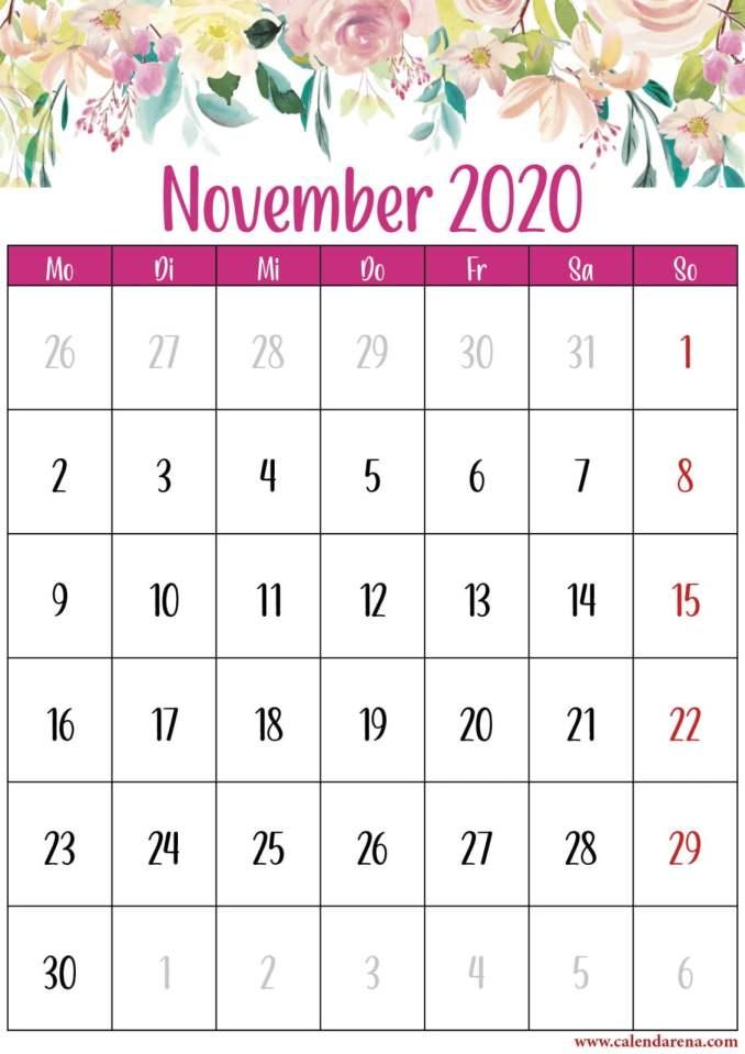 montag Blumenkalender November 2020 portrait