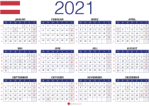 Jahreskalender 2021 Österreich