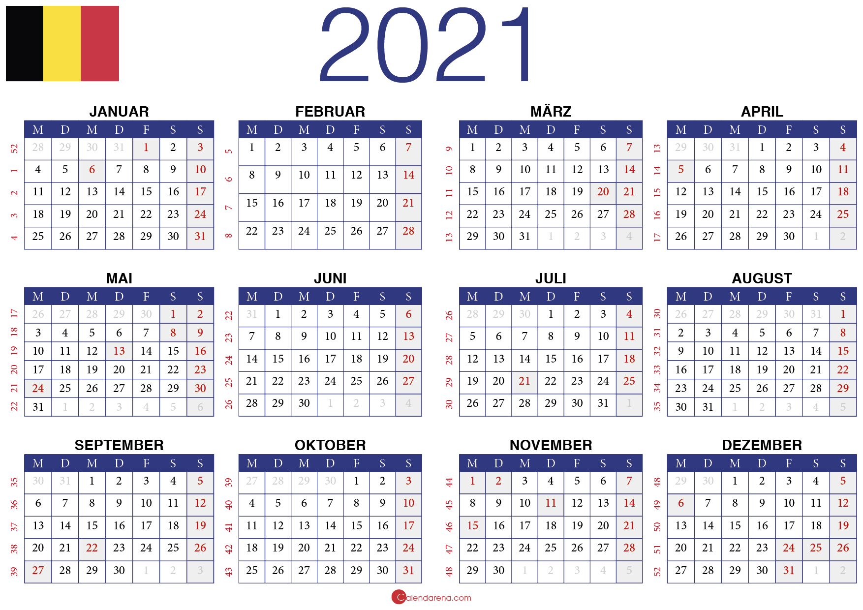 Jahreskalender 2021 Belgien🇧🇪