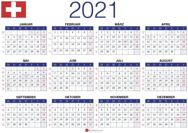 2021 Kalender CH