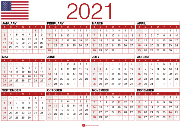 2021 calendar printable pdf usa
