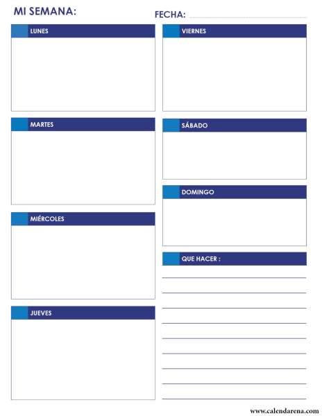 Calendario diario 2020 para imprimir Retrato azul