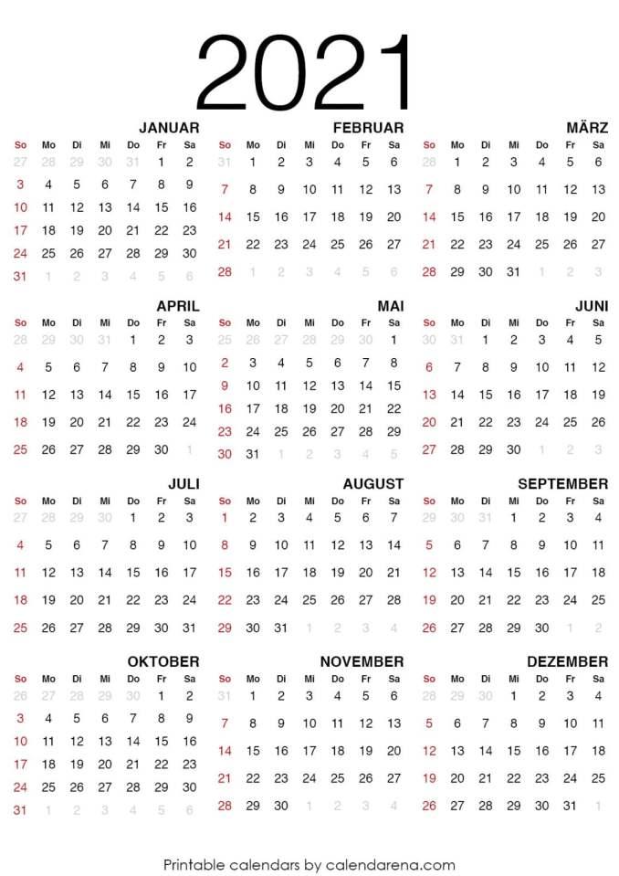 Kalender für 2021 leerer Kalender_3