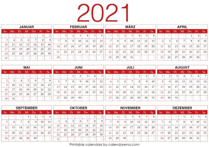 PDF-Kalender 2021 Vorlage 4