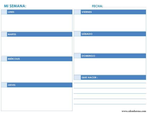 calendario organizador semanal