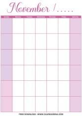 free blank calendar november 2020