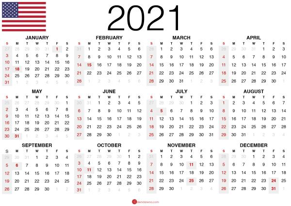 free printable 2021 calendar usa