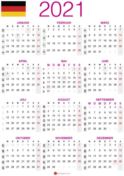 kalender 2021 zum ausdrucken DE2