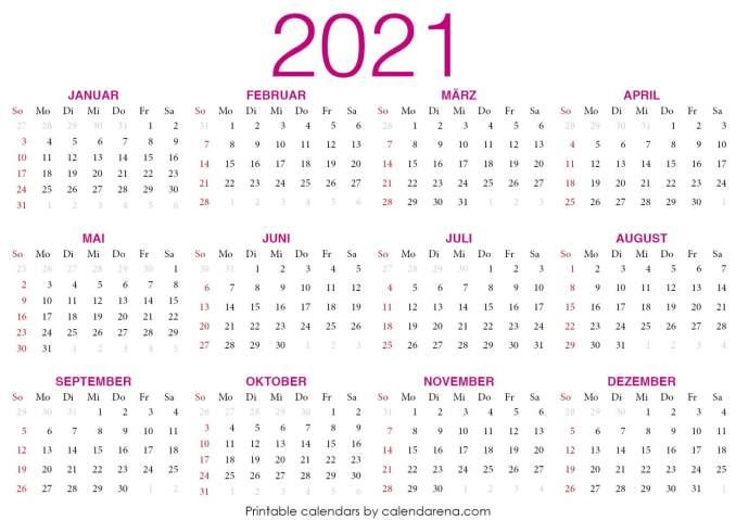 kalender 2021 zum ausdrucken mit ferien