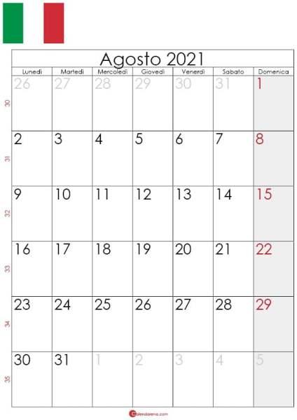 Calendario agosto 2021 da stampare