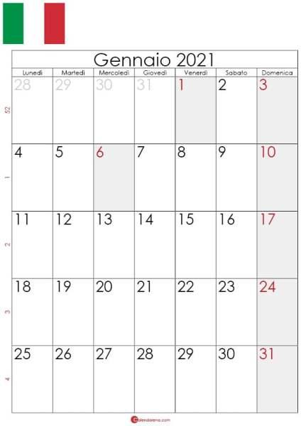 Calendario gennaio 2021 da stampare