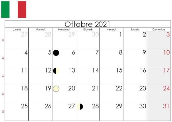 Calendario Ottobre lunare 2021