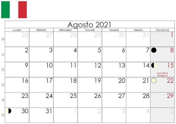 Calendario lunare agosto 2021