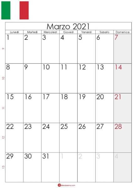 Calendario marzo 2021 da stampare