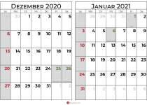 Kalender dezember 2020 januar 2021 querformat