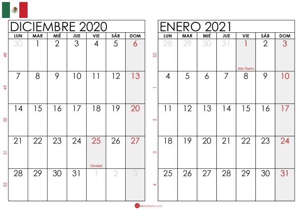 calendario diciembre 2020 enero 2021 México