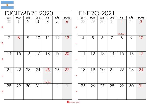 calendario diciembre 2020 enero 2021 argentina