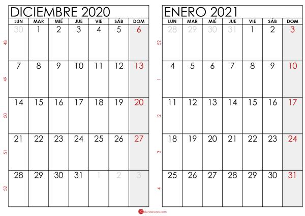 calendario diciembre 2020 enero 2021