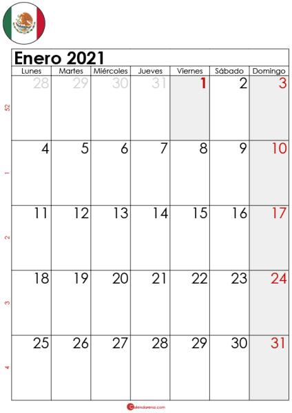 calendario enero 2021 para imprimir MX