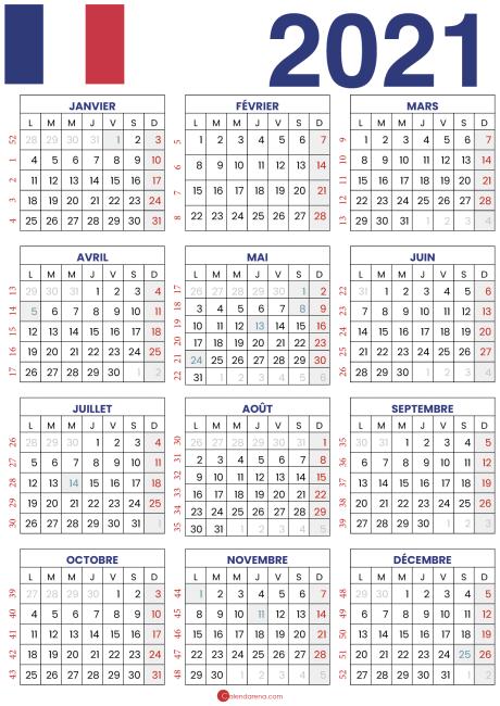 calendrier 2021 à imprimer