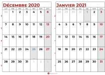 calendrier decembre 2020 janvier 2021 1