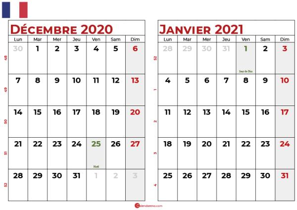 calendrier decembre 2020 janvier 2021 fr