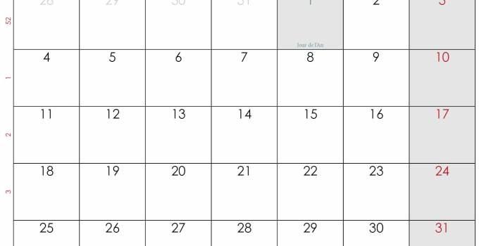 calendrier janvier 2021 a imprimer