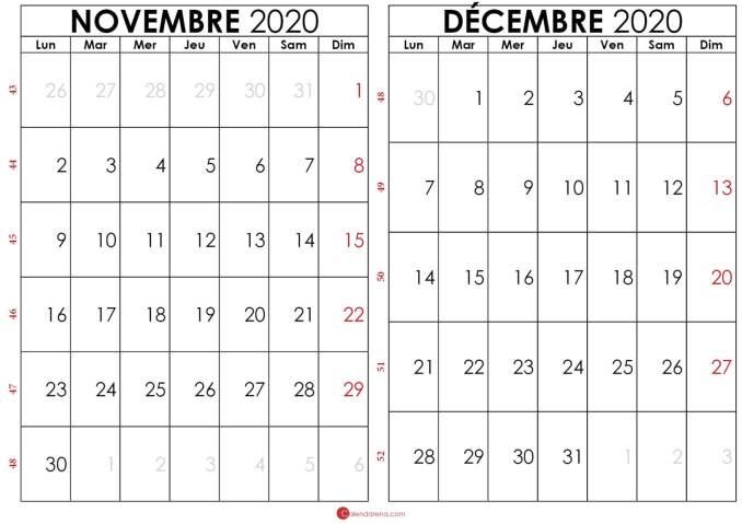 calendrier novembre et decembre 2020