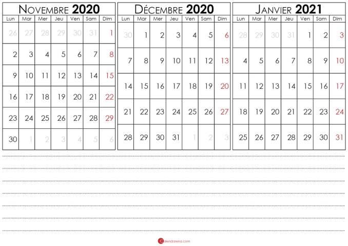 calendrier decembre 2020 et janvier 2021 à imprimer