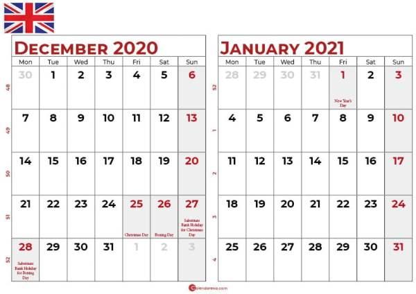 december 2020 january 2021 calendar UK