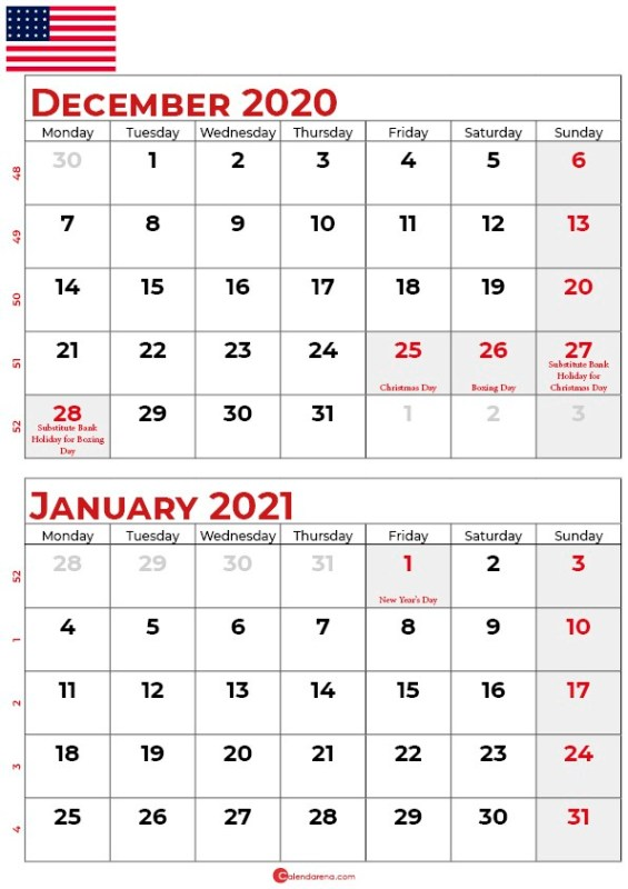 december 2020 january 2021 calendar_usa