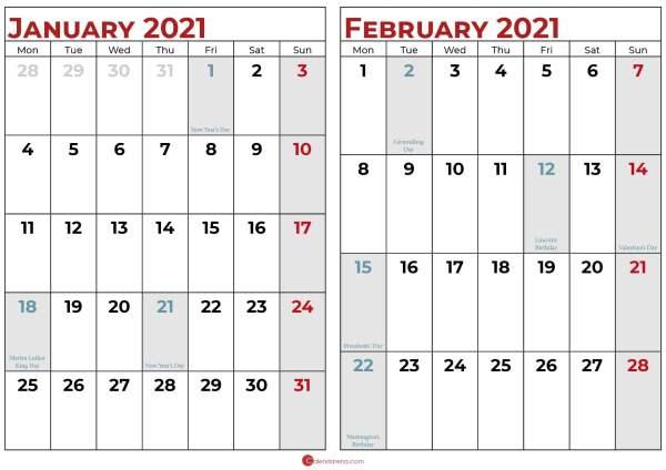 calendar 2021 january and february