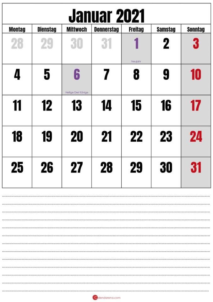 januar 2021 kalender mit notizen