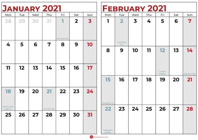 january and february 2021 calendar