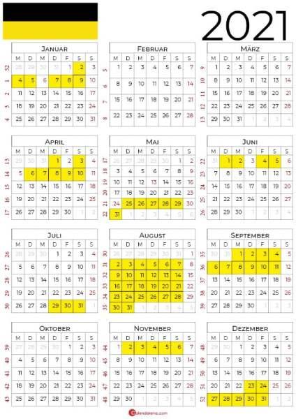 kalender 2021 Baden-Württemberg hochformat