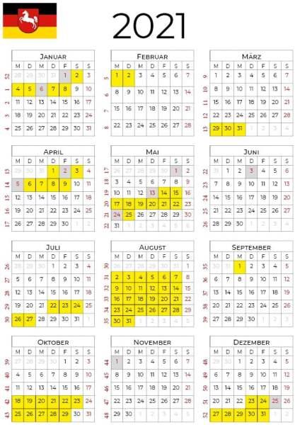 kalender 2021 Niedersachsen hochformat