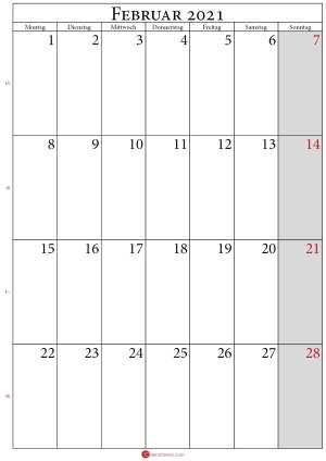 kalender 2021 februar Hochformat