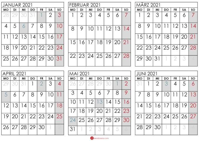 kalender 2021 januar bis juni
