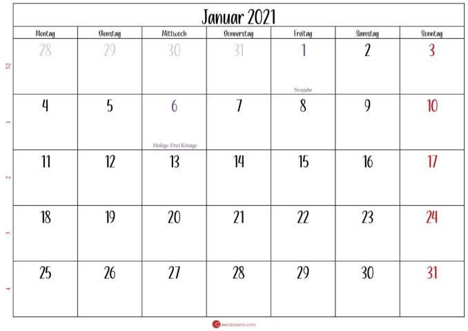 kalender 2021 januar_Querformat
