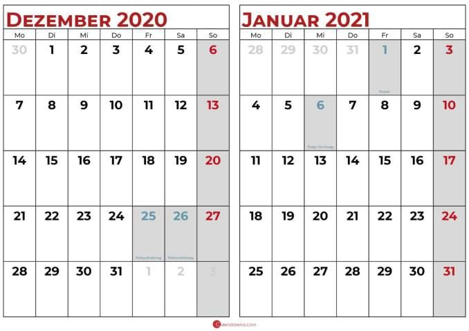 kalender dezember 2020 januar 2021