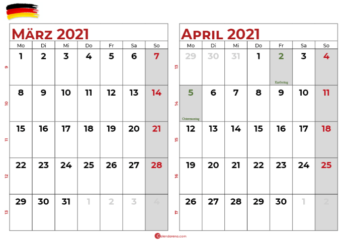 kalender marz april 2021
