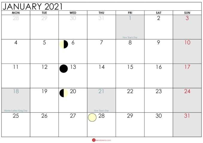 moon calendar january 2021