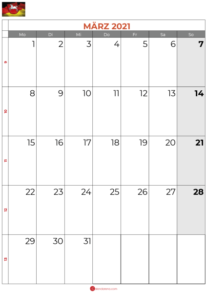 2021 März kalender Niedersachsen
