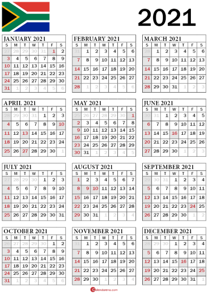 2021 calendar south africa