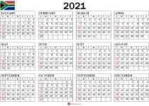 2021 calendar south africa_landscape