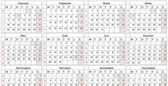 Årskalender för 2021 med helgdagar sv2